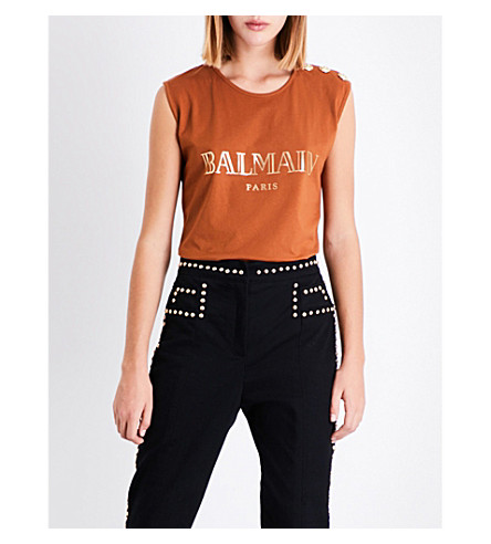BALMAIN Logo-print cotton-jersey top (Noisette