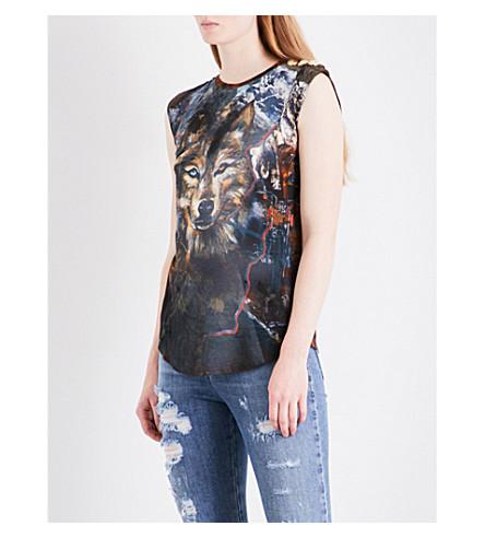 BALMAIN Wolf-print cotton-jersey top (Brun+multicolore