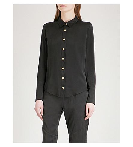 BALMAIN Button-detail silk shirt (Noir