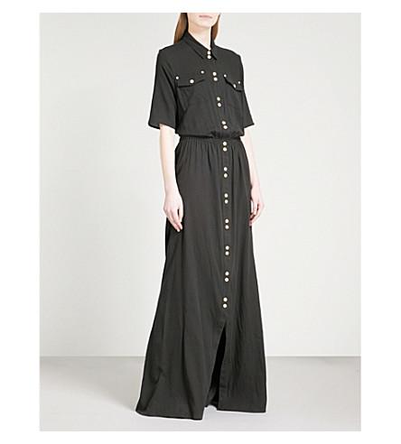 BALMAIN Button-detail cotton maxi dress (Noir