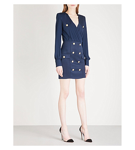 BALMAIN Button-detail woven mini dress (Marine