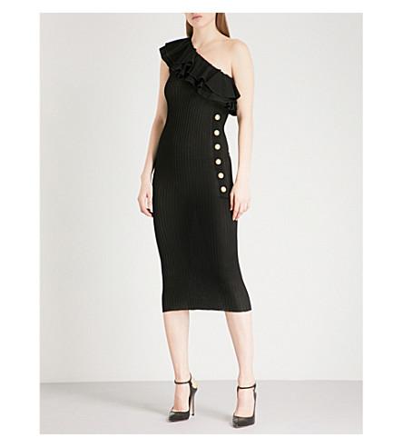 BALMAIN Asymmetric knitted dress (Noir