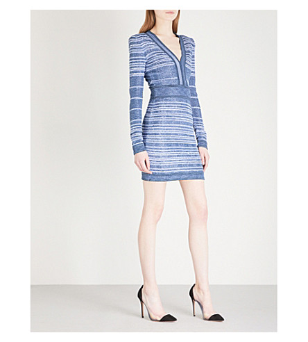 BALMAIN V-neck striped woven mini dress (Bleu+moyen