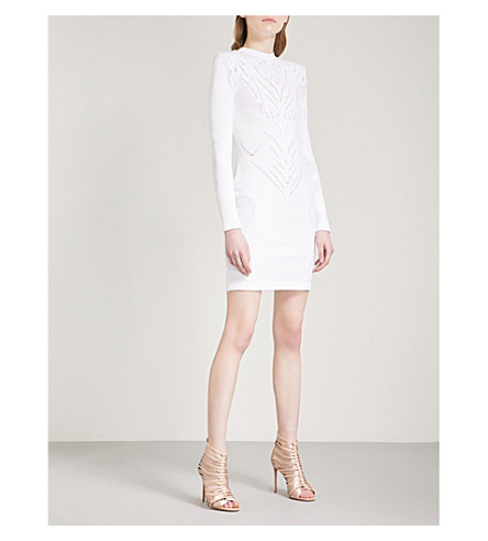 BALMAIN Embroidered woven mini dress (Blanc+optique