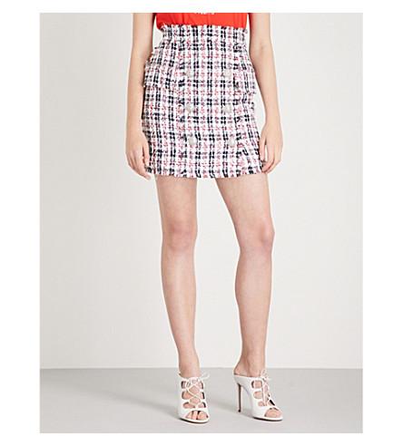 BALMAIN Buttoned tweed mini skirt (Blanc/+marine/