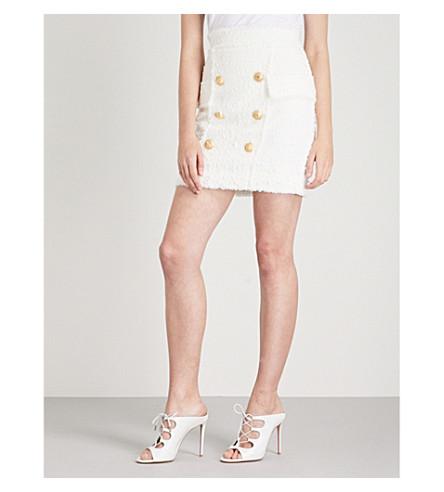 BALMAIN Buttoned tweed mini skirt (Naturel