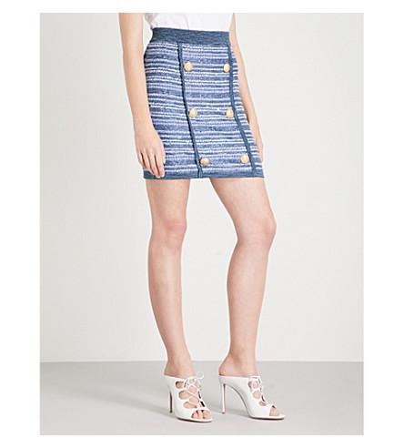 BALMAIN Buttoned tweed skirt (Bleu+moyen