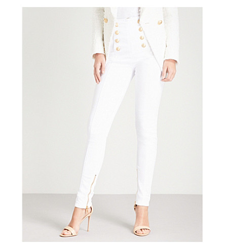 BALMAIN Button-detail skinny high-rise jeans (Blanc+optique