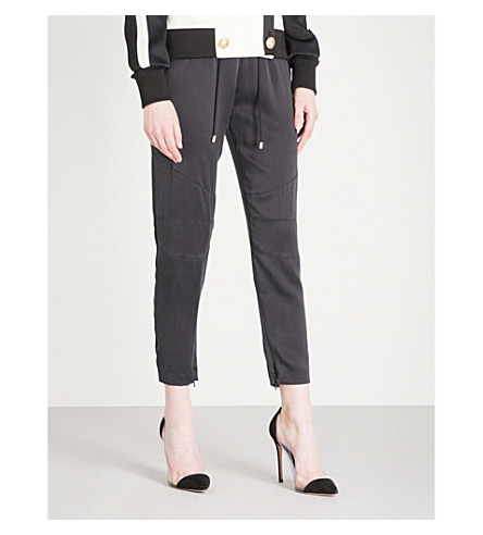 BALMAIN Tapered silk-satin jogging bottoms (Noir
