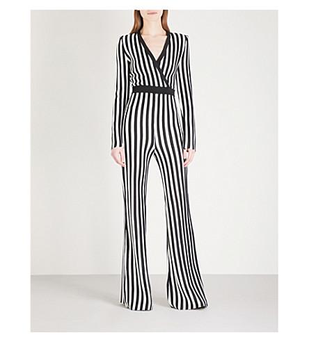 BALMAIN Striped wide-leg woven jumpsuit (Noir/blanc