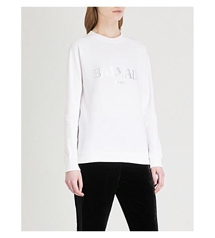 BALMAIN Logo-print cotton-jersey sweatshirt (Blanc