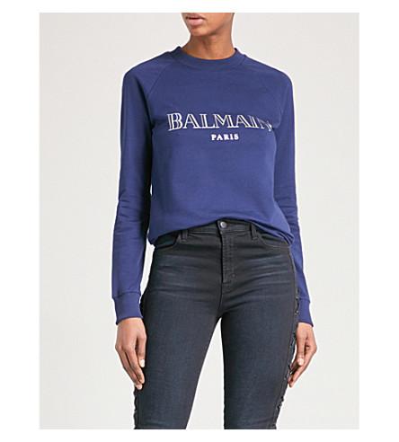 BALMAIN Logo-print cotton-jersey sweatshirt (Marine