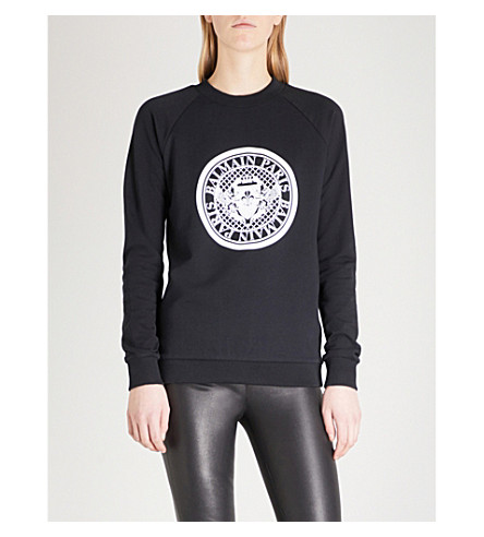 BALMAIN Coin-print cotton-jersey sweatshirt (Noir