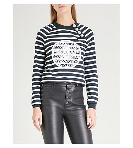BALMAIN Coin print striped cotton sweatshirt (Marine/blanc