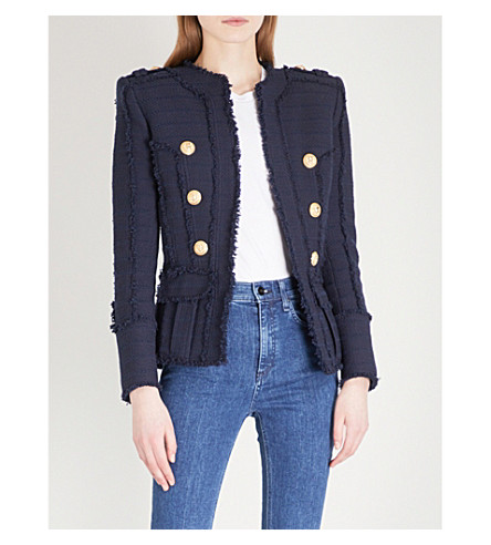 BALMAIN Double-breasted woven jacket (Navy