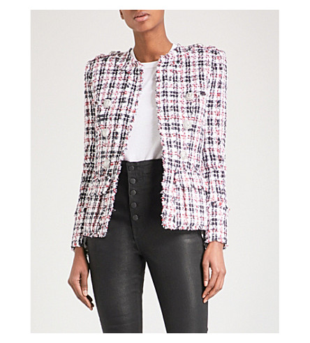 BALMAIN Checked tweed jacket (White/navy/red