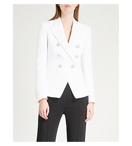 BALMAIN Double-breasted woven blazer (Blanc