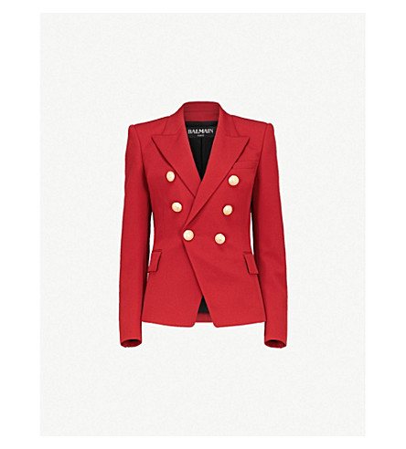 BALMAIN Double-breasted woven blazer (Red