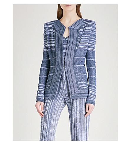 BALMAIN Striped woven jacket (Bleu+moyen