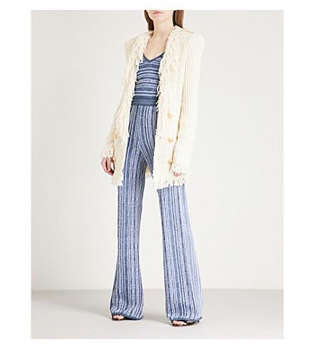 BALMAIN Croise frayed-trim cotton-blend cardigan (Naturel