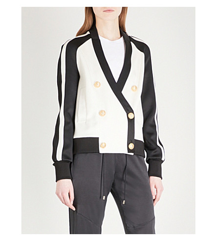 BALMAIN Double-breasted satin jacket (Noir/blanc