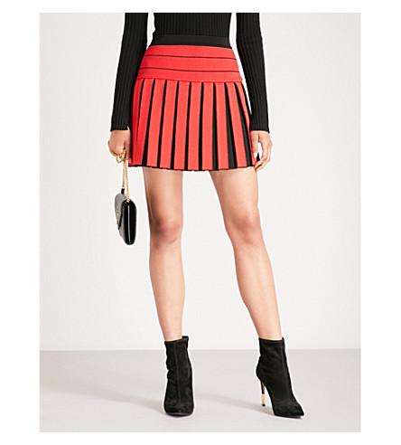 elástica BALMAIN plisada negro Rouge de Falda crepé ZZ1rwE7q