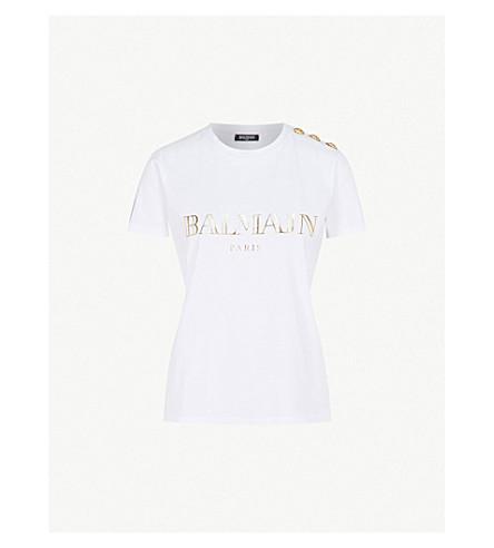 BALMAIN Metallic logo-print cotton-jersey T-shirt (Blanc