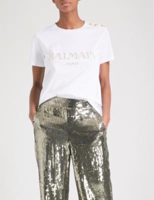 Metallic logo-print cotton-jersey T-shirt