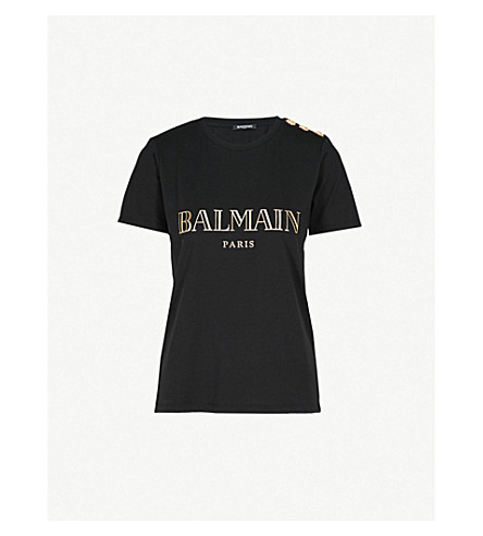 BALMAIN Metallic logo-print cotton-jersey T-shirt (Noir