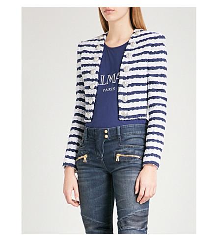 BALMAIN Striped cropped woven blazer (Blue+stripe