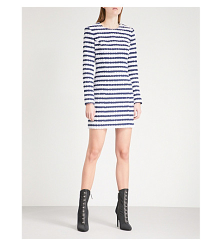 BALMAIN Striped woven mini dress (Blue+stripe