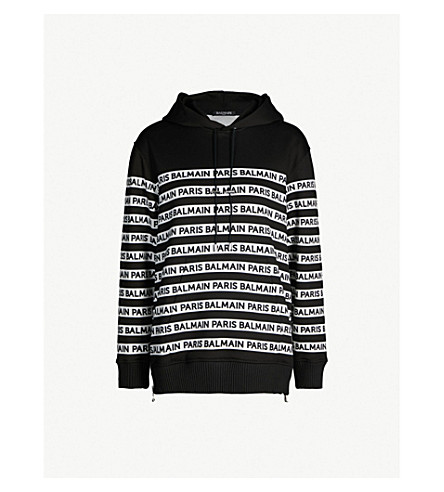 BALMAIN Logo-print oversized cortton-jersey hoody (Black white