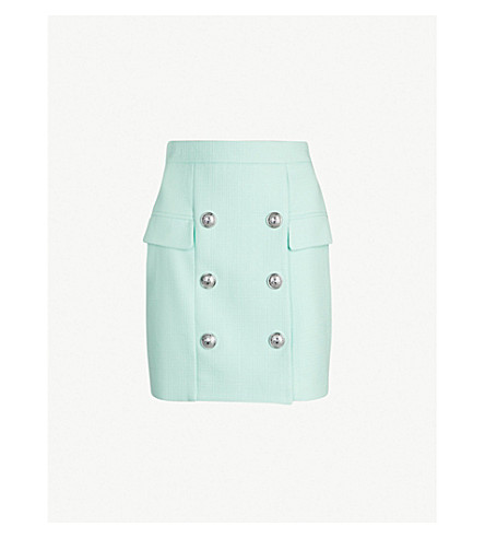 BALMAIN High-waist buttoned cotton skirt (Turquoise