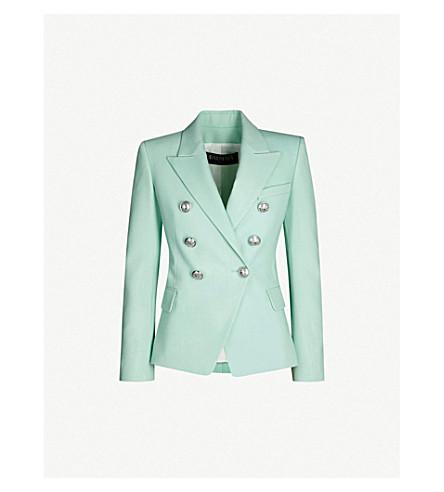 BALMAIN Double-breasted wool jacket (Turquoise
