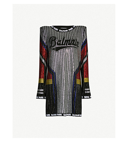 BALMAIN Embellished contrast-panel stretch-knit dress (Multi