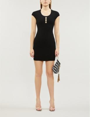 Short-sleeved woven mini dress