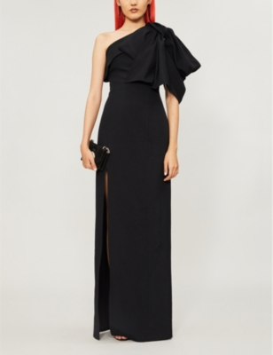 Asymmetric one-shoulder woven gown