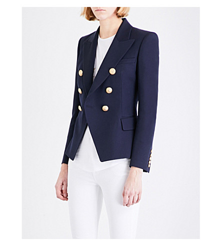 BALMAIN Double-breasted wool-twill blazer (Marine