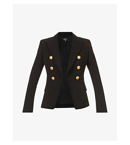 BALMAIN Double-breasted wool-twill blazer (Noir