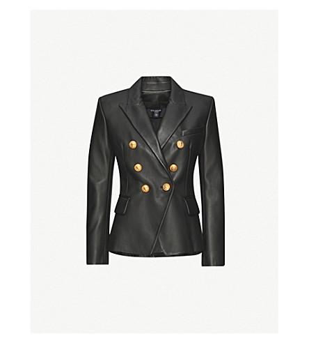 BALMAIN Double-breasted leather suit jacket (Noir