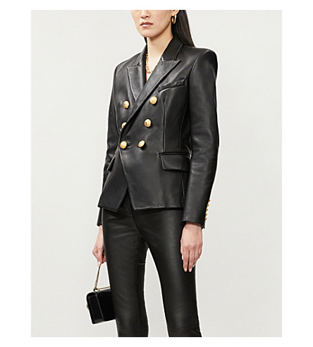 BALMAIN Double-breasted leather suit jacket (Noir