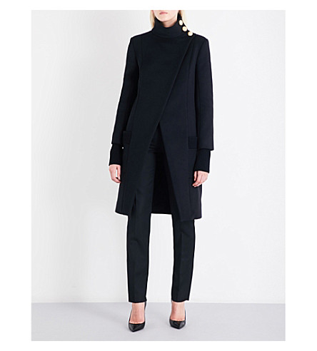 BALMAIN Button-detailed high-neck wool coat (Noir