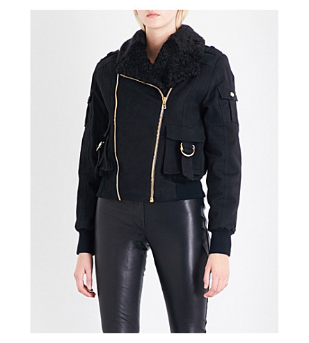 BALMAIN Shearling-lined stretch-cotton bomber jacket (Noir