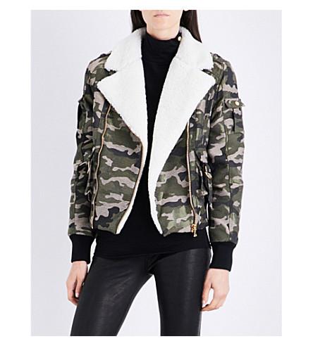 BALMAIN Camouflage shearling drill bomber jacket (Kaki