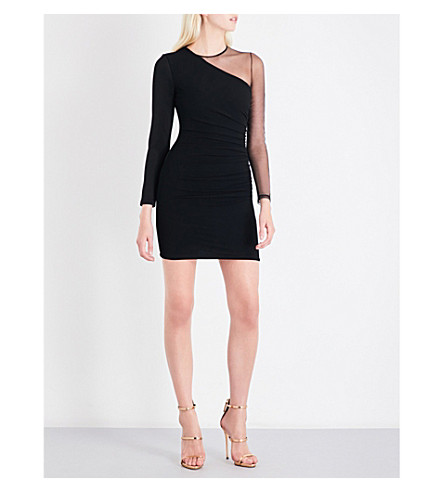 BALMAIN Asymmetric sheer-panel knitted dress (Noir