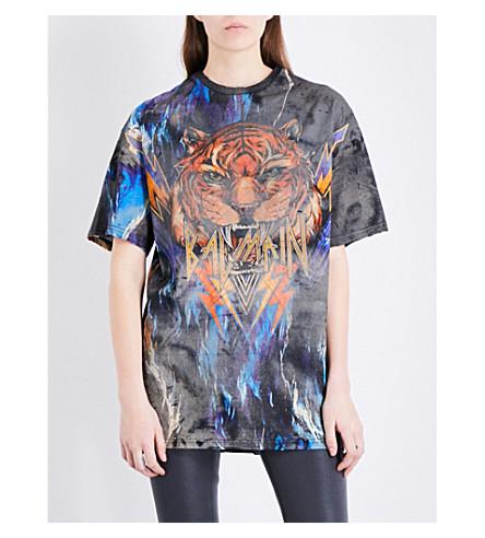 BALMAIN Tiger-print cotton-jersey T-shirt (Black+multi