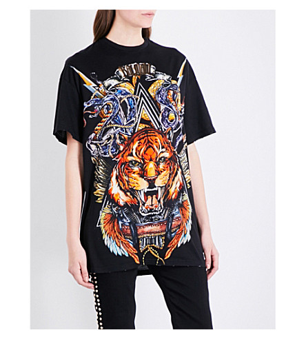 BALMAIN Animal and logo-print cotton-jersey T-shirt (Noir/multi