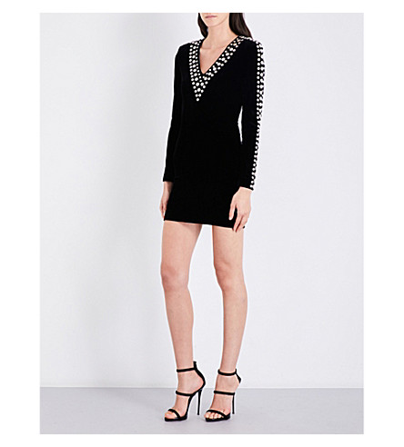 BALMAIN Stud-embellished V-neck velvet mini dress (Noir