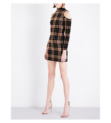 BALMAIN Cold shoulder embellished tartan velvet mini dress (Noir/or/rouge