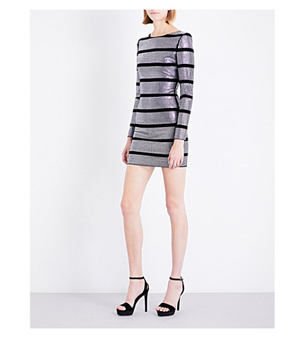 BALMAIN Striped embeliished velvet mini dress (Silver/black